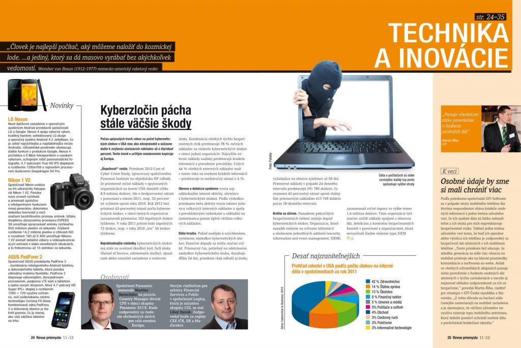 Revue priemyslu, časopis, magazín Ľudia, manažment ahospodárstvo, dizajn, DTP, grafika