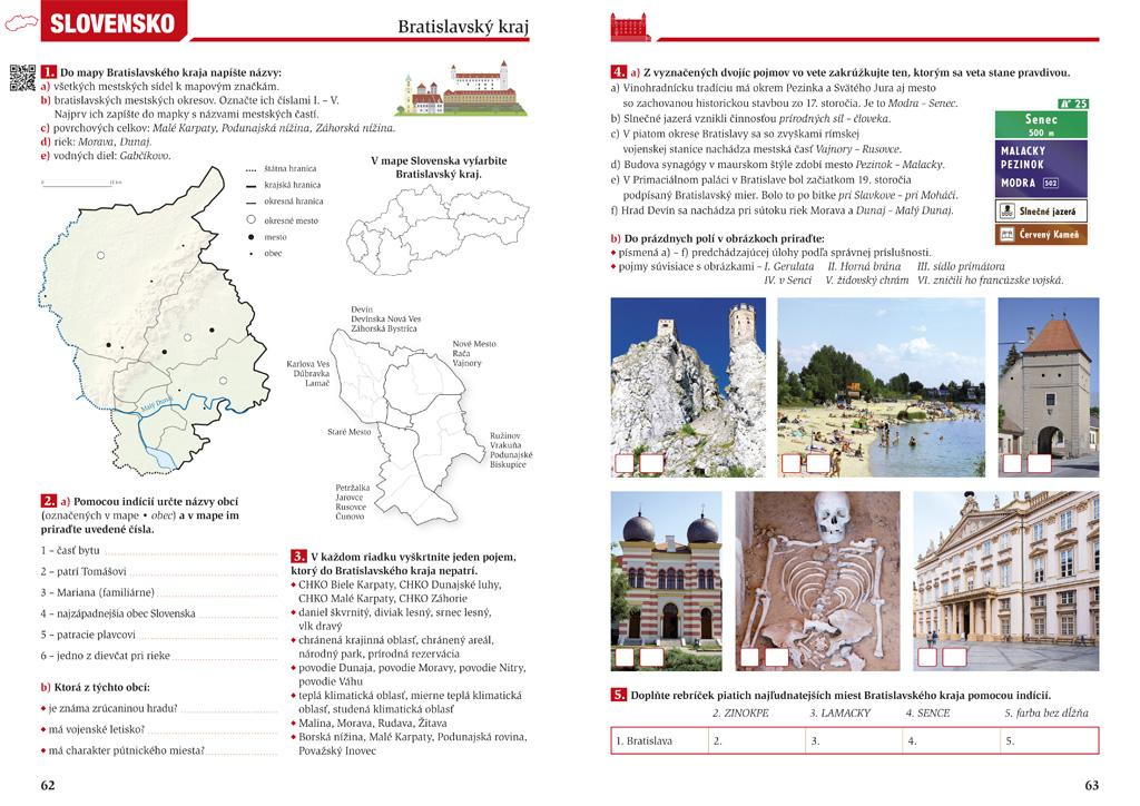 Geografia 5 Slovensko, pracovný zošit pre 2 stupeň ZŠ, grafický dizajn, DTP, príprava do tlače